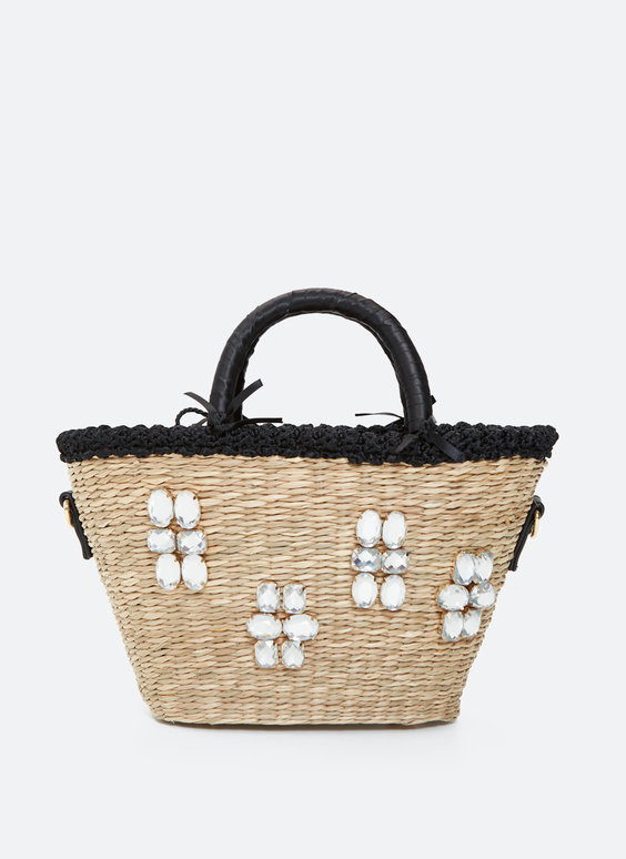 Straw basket bag with rhinestones