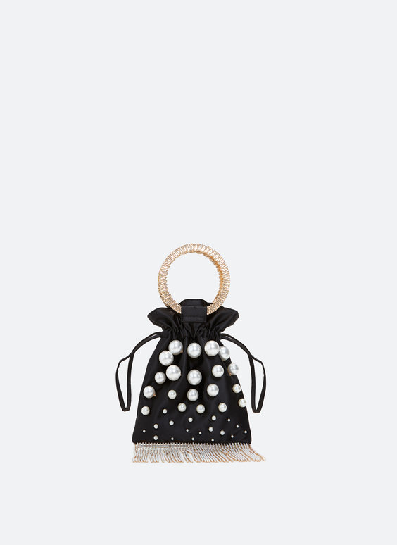 Evening bag with faux pearls