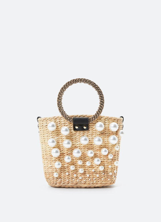 Straw bag with faux pearls