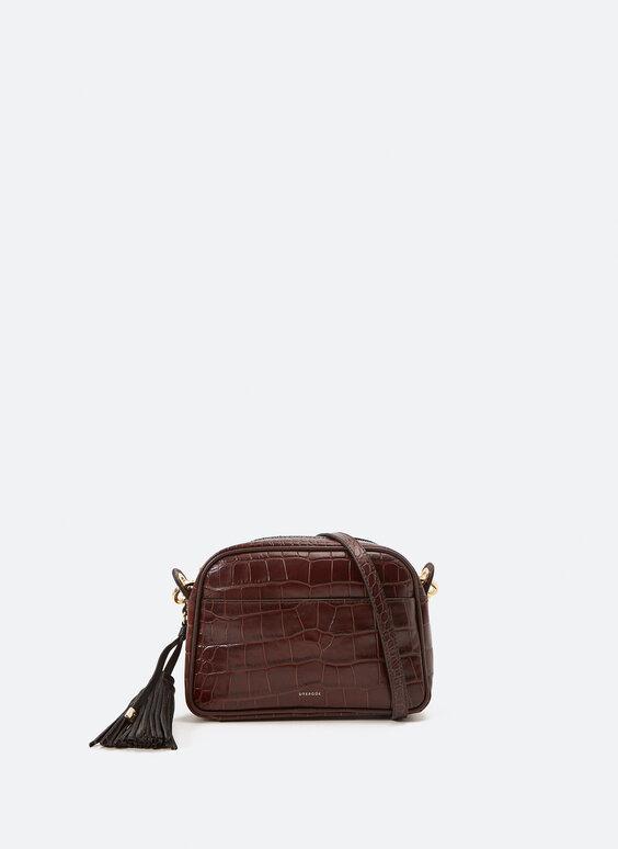 Кожена чанта с дълга дръжка за през рамото