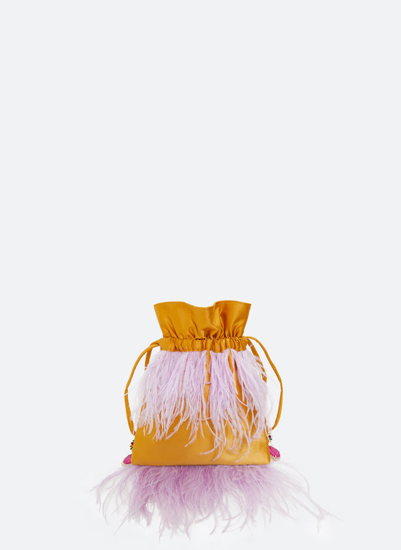 Evening pouch bag with fringe