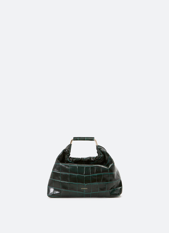Small mock croc leather bag with handles