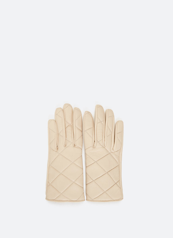 Leather gloves with topstitching