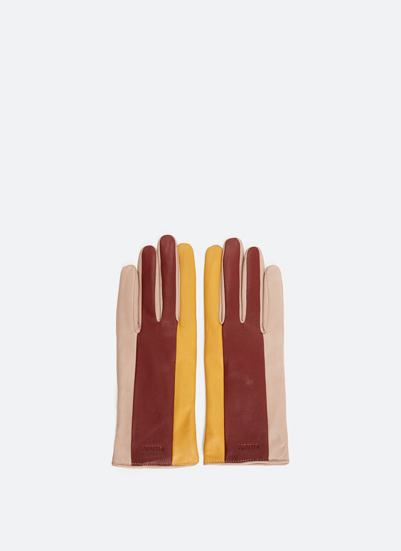 Three-tone leather gloves
