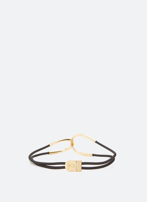 Stretch belt with gold