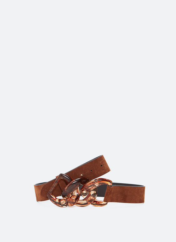 Split suede belt with chain links
