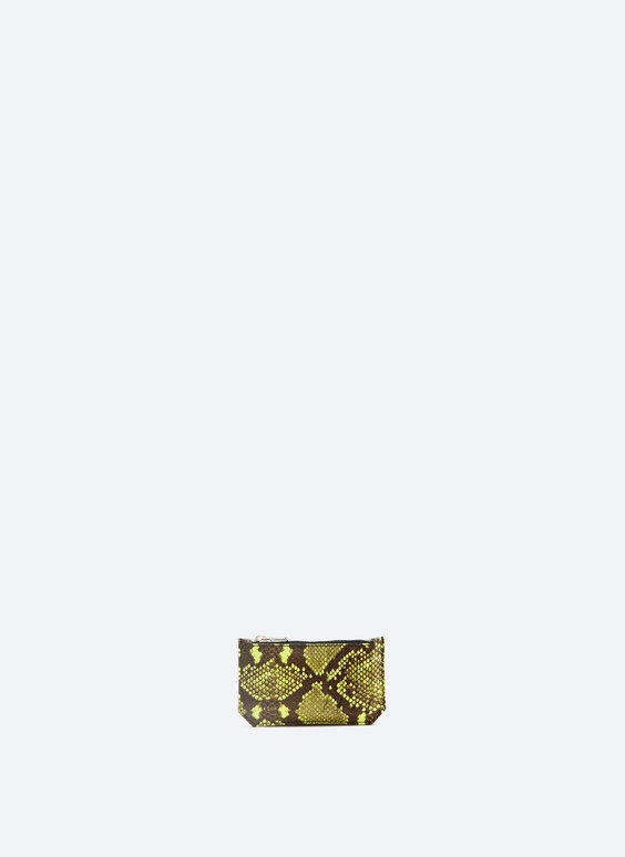 Porte-cartes en cuir fluo