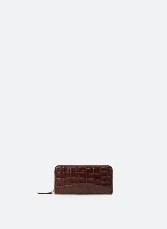 Mock croc leather wallet