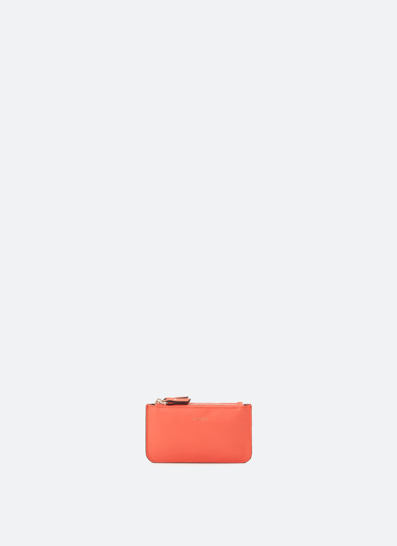 Double zip leather purse