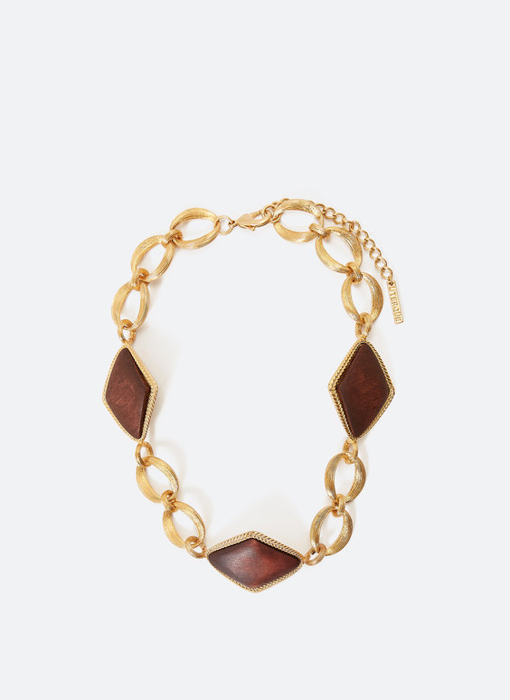 Choker with wooden diamonds