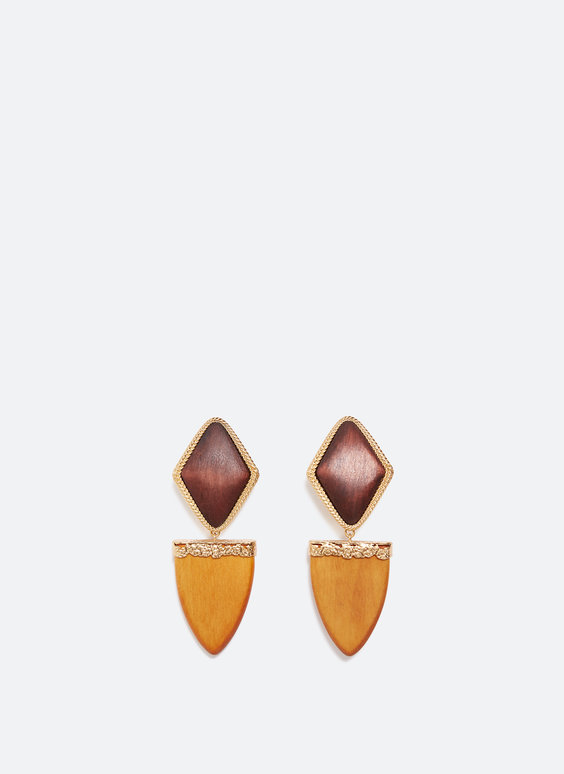 Earrings with wooden diamonds