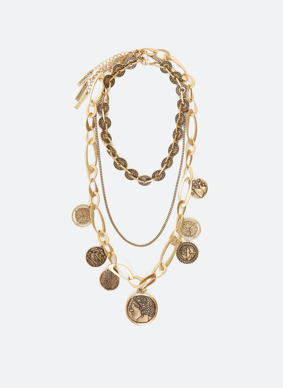 Multi-strand necklace with coins