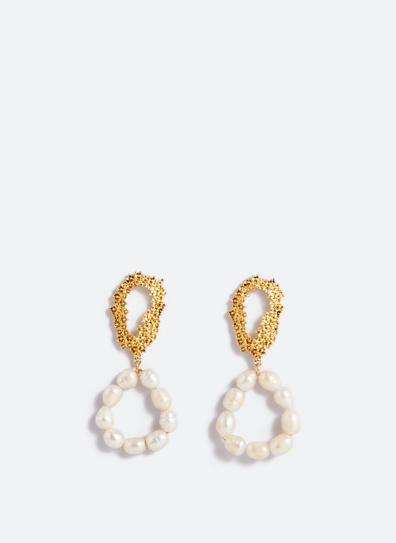 Pearl bead double-loop earrings