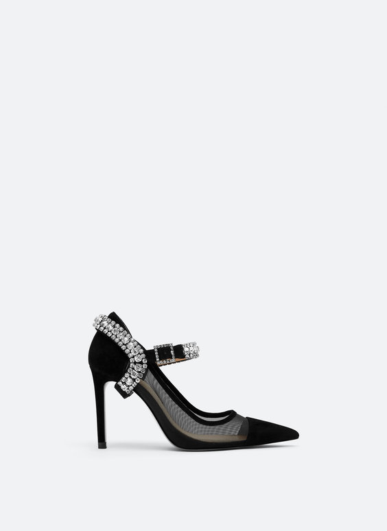 Bejewelled mesh court shoes