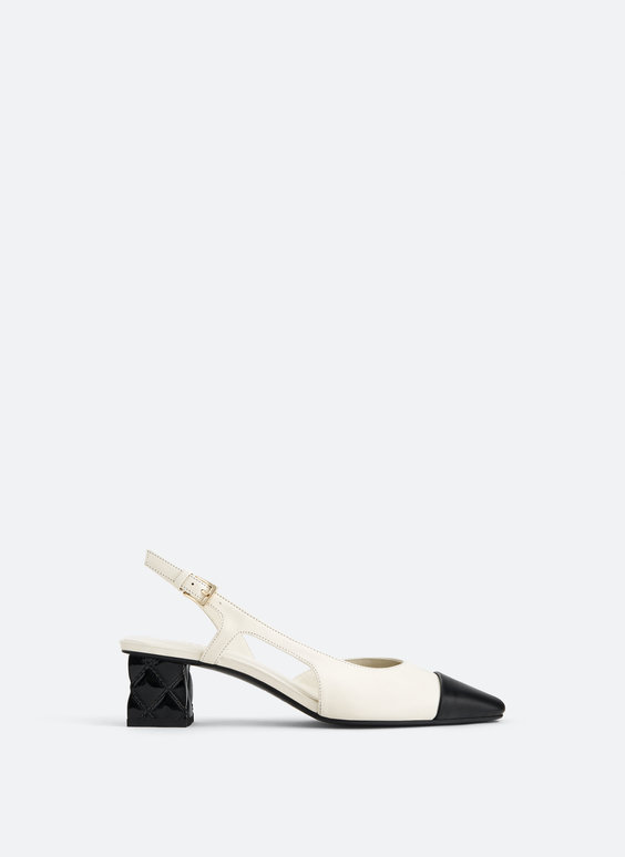 Two-tone leather slingback shoes