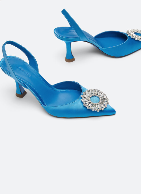 Satin slingbacks with gem detail