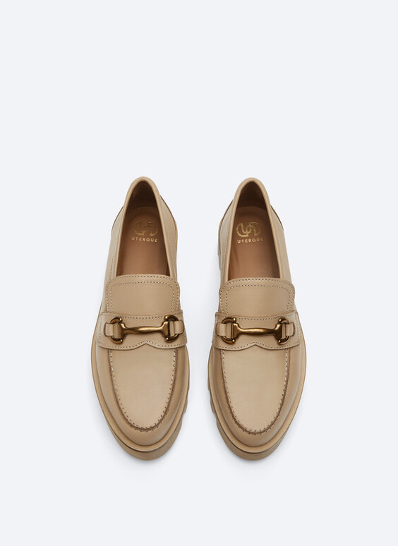 Leather loafers with track sole