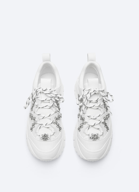 Bejewelled leather trainers