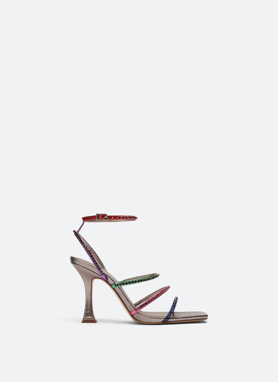 Strappy sandals with multi-coloured rhinestones