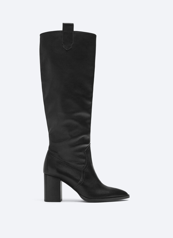 Leather heeled knee-high boots