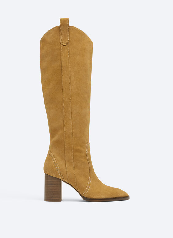 Split suede heeled knee-high boots