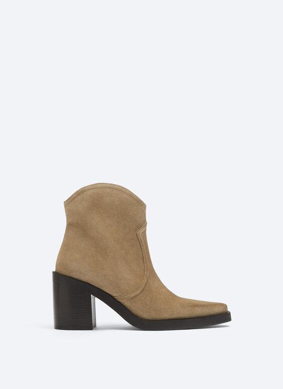 Split suede cowboy ankle boots