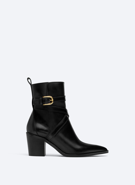 High heel ankle boots with buckle