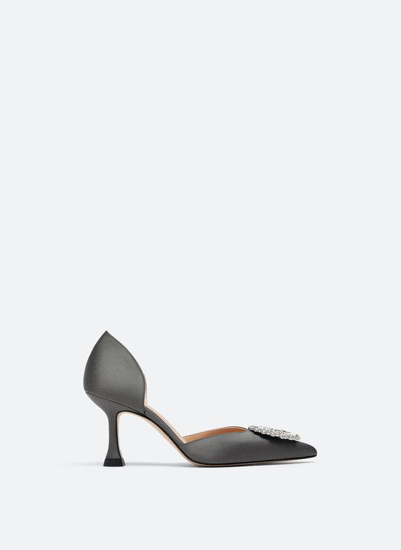Satin high heel court shoes with rhinestones