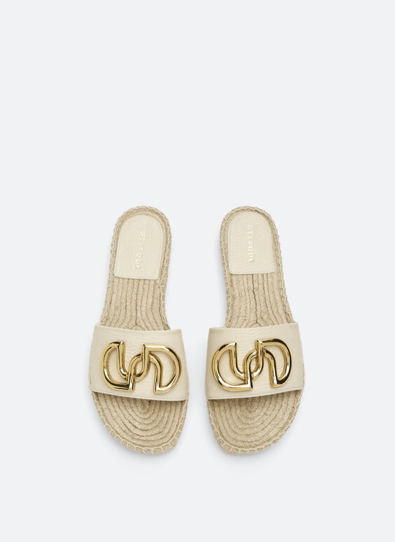 Leather and jute slides with logo detail