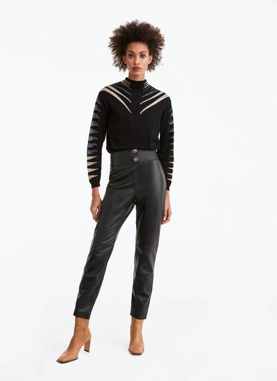 Leather trousers with quilted belt