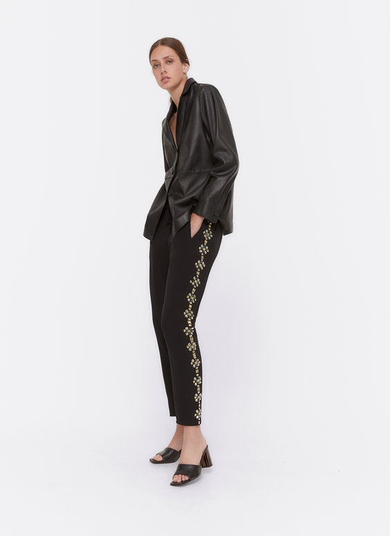 Jogging trousers with rhinestones