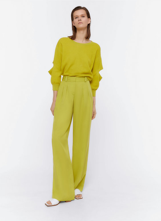 Darted trousers with belt