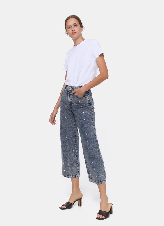 Wide-leg trousers with embellishment