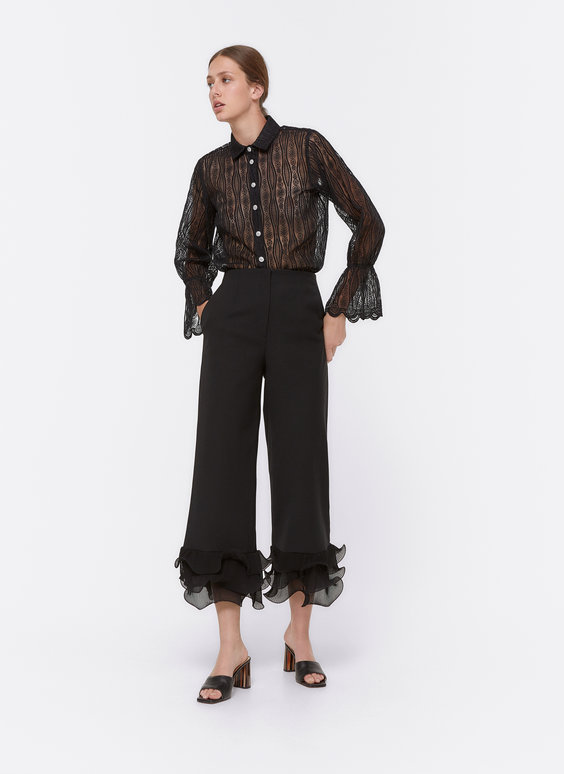 Ruffled trousers