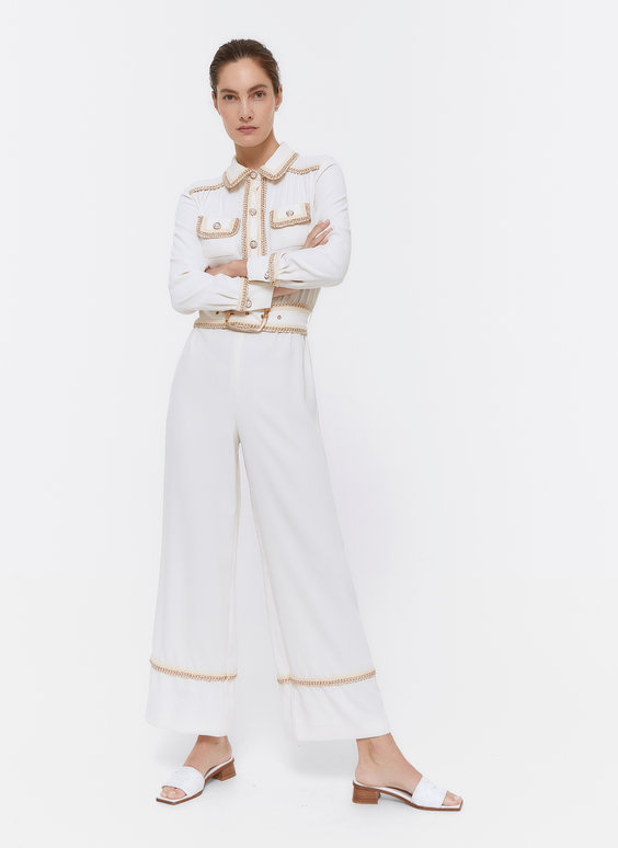 Jumpsuit with passementerie and faux pearl buttons