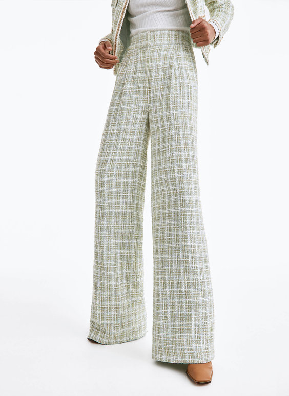Wide-leg frayed trousers