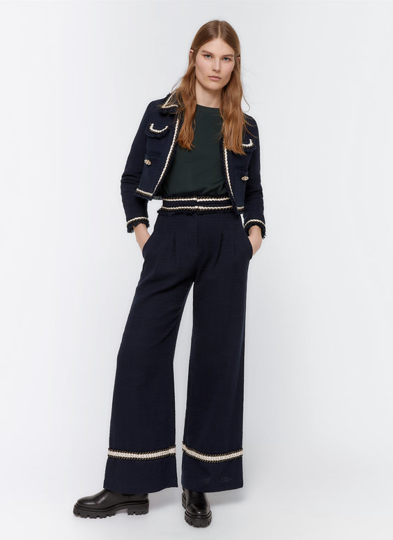 Wide-leg frayed trousers with passementerie