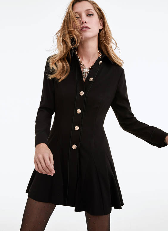 Dress with gold buttons