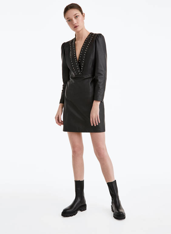 Leather dress with studs