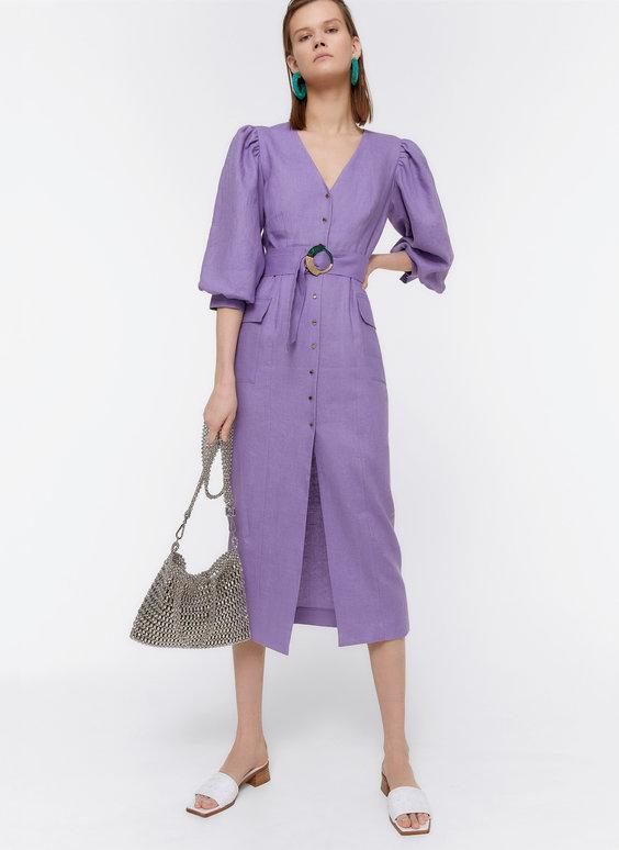 Vestido de linho com manga abalonada