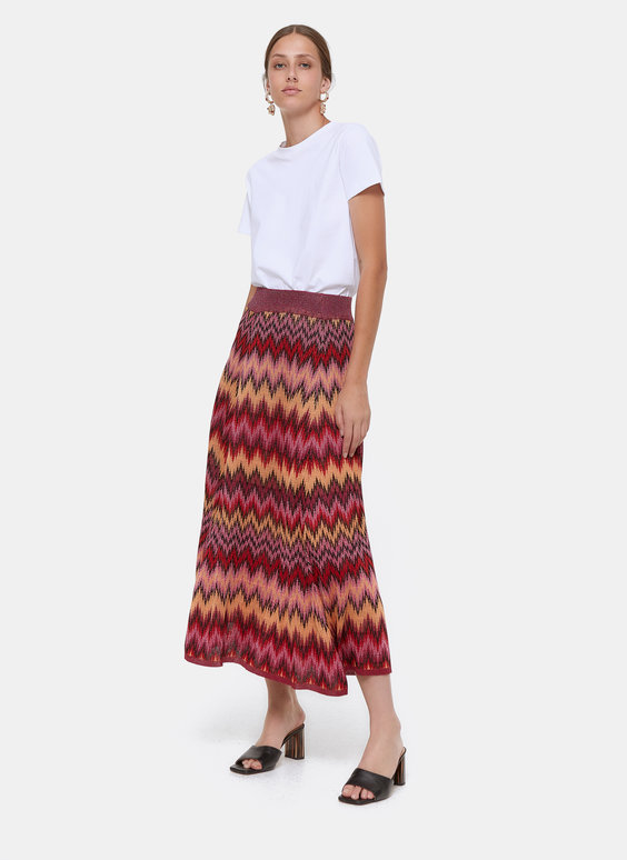 Knit skirt in herringbone jacquard