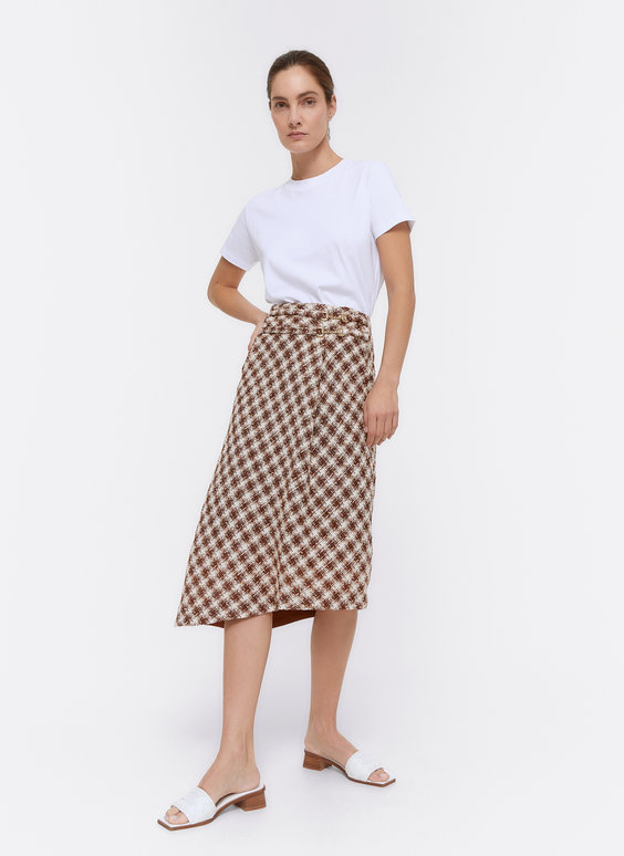 Tweed skirt with buckle