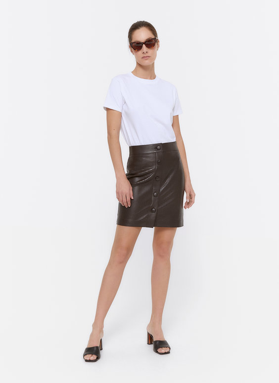 Leather cutwork skirt