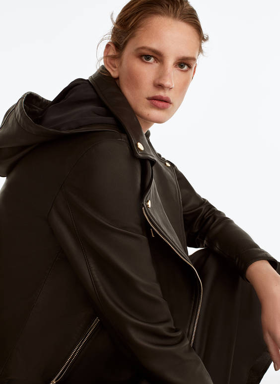Hooded leather biker jacket