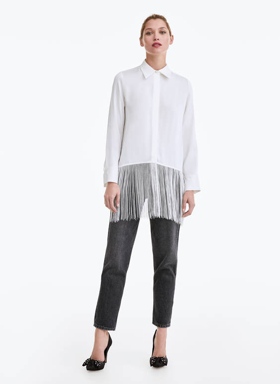 White shirt with fringing