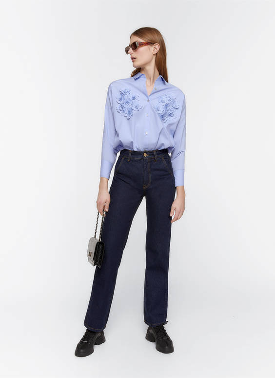 Poplin shirt with embroidered flowers