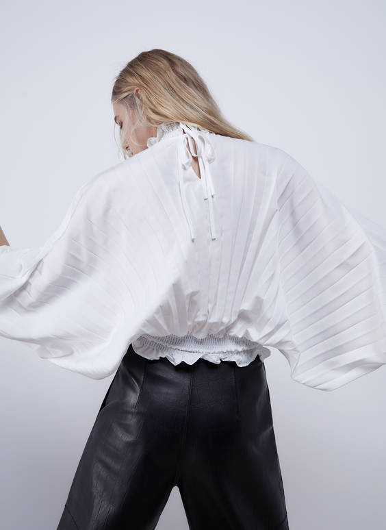 Pleated high neck shirt