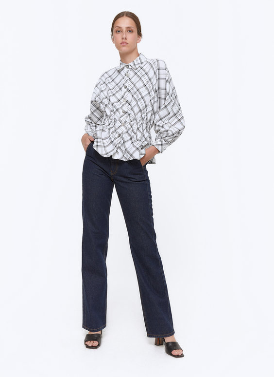 Elasticated check shirt