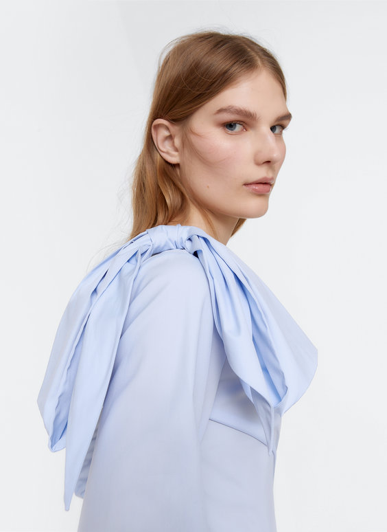 Sky blue shirt with bow