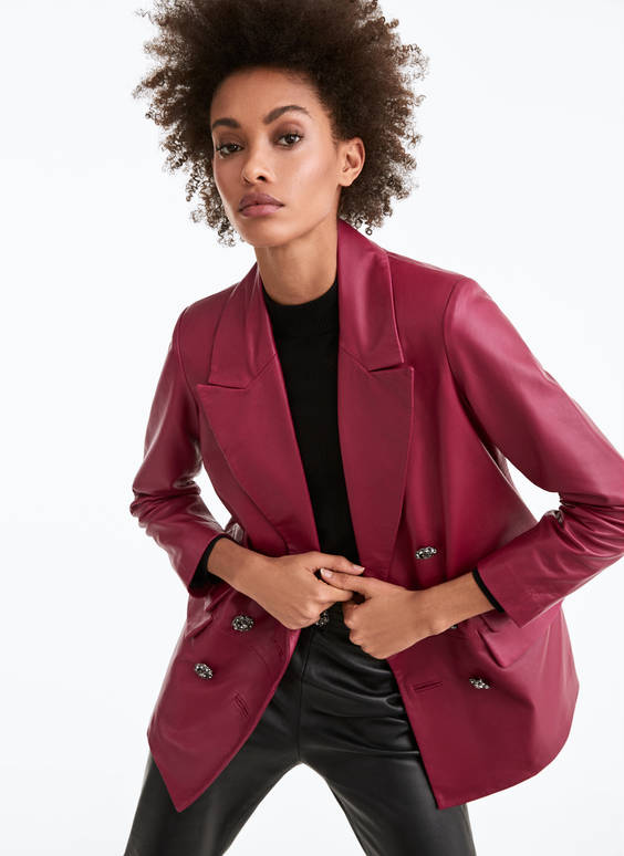Buttoned leather blazer